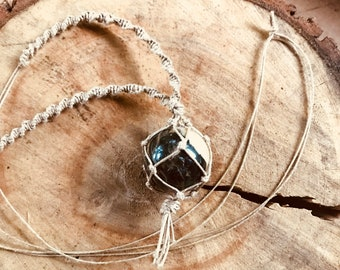 Handmade Hemp Knotted Macrame Black White Gray Swirl Agate Stone Crystal Sphere Necklace