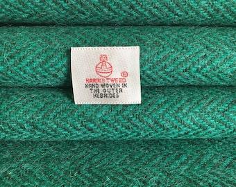 Green Herringbone Harris Tweed, Fabric Piece - 30 x 25cm With Authenticity Label