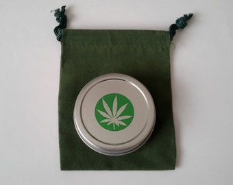 1 oz. Stash Tin with Pot Leaf Decal and Drawstring Green Velveteen Bag
