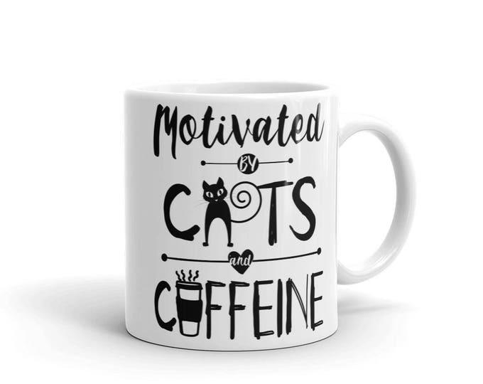 Motivated By Cats and Caffein Mug   Cat Mom Coffee Mug   Coffee Mug for Cat Mom   Mug for Cat Mom   Cat Mama Mug   Cat Lovers Coffee