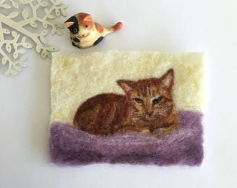 Ginger Cat wool painting, needle felted cats wool painting, cats, kittens, kitties, nursery, gift, birthday, cards,
