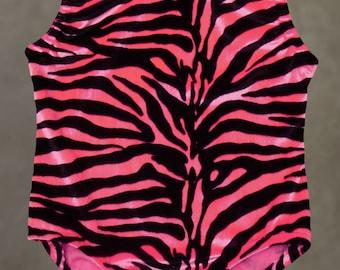 Gymnastique justaucorps - justaucorps danse - rose velours zèbre - noir et blanc Zebra - enfant en bas âge et 18 mois de la jeune fille, 2 t, 3 t, 4, 5, 6, 7, 8, 10, 12