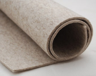 "100% Wool Felt Fabric - 1 Yard x 1/2 Yard (36"" x 18"") - 3mm Thick - Made in Western Europe - Natural Beige"