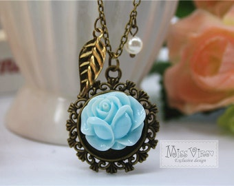 rose cameo charm necklace retro pearl cottage chic charm pendant vintage bronze jewellery accessory pearl