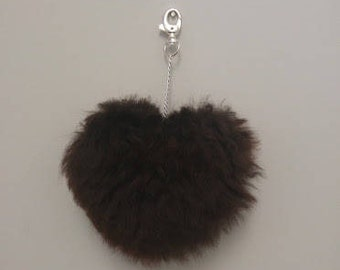 Key fob - tassel Keychain - natural color - Alpaca fur Pom Pom-