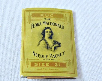 Flora MacDonald  Sewing RUG NEEDLES Packet  // Very Good ANTIQUE Condition // Gorgeous Illustrations & script // Use for Crewel Embroidery