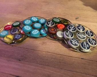 4 pack of epoxy bottlecap coasters