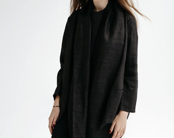Summer black   linen jacket with big collar.