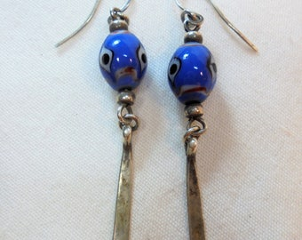 Vintage Sterling Silver Earrings Glass Face Beads Dangle Pierced 6.8 Grams Retro Boho Artisan
