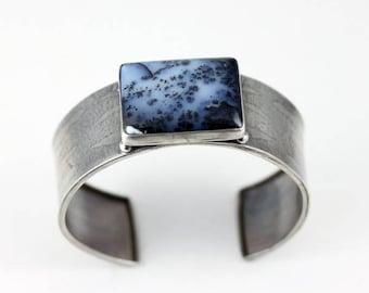 Wide bracelet, silver bracelet, bohemian style, bangle, cuff bracelet, industrial, classical bracelet, etched silver, dendrite