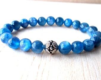 Kyanite Bracelet, Blue Kyanite Beaded Bracelet, Healing Crystals and Stones, Genuine Kyanite Jewelry - AAA Quality! FREE SHIPPING