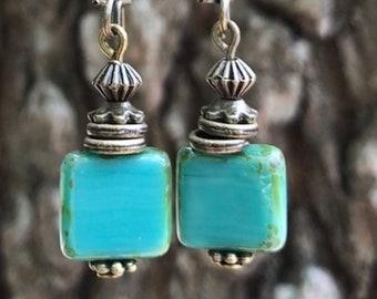 Turquoise Earrings, Bohemian Earrings, Bohemian Jewelry, Bronze Earrings, Boho jewelry, Dangle Drop Earrings, Rustic Earrings, Ethnic Earrin