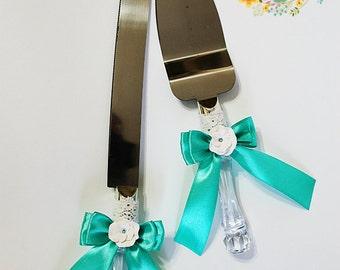 Wedding Cake Serving Set with Swarovski crystals and flowers-Wedding Cake and Knife Set-Wedding gift-Wedding Cake Cutting Set