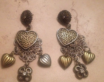Vintage Heart Earrings Dangle Costume Jewelry