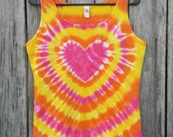 Heart Tie Dye Tank Top,  Women's Sizes S M L XL 2XL,  Heart Tie Dye,  Pink Orange and Yellow Tie Dye Top, Hippie Shirt