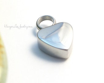 Cremation ~ Small Urn ~ Petite Heart Pendant ~ Stainless Steel ~ Remembrance Jewelry ~ Memorial Charm ~ Sympathy Gift ~ Loss of a loved one