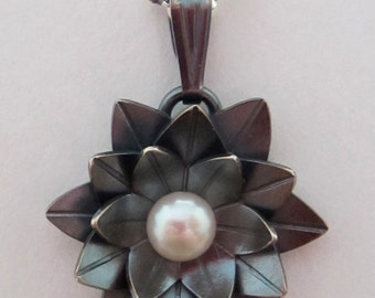 Large Black Lotus Pendant - made to order