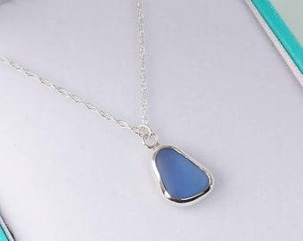 Sterling silver small purple sea glass pendant necklace Uk
