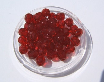 100 - Faceted 4mm Dk Ruby Red Czech Glass Beads