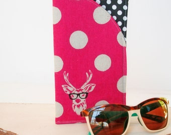 Deer with Glasses, Sunglass Case|Glass Sleeve|Monogrammed Cases for Over sized glasses|Funky Sunglass case|Polka Dots|Sunglass sleeves