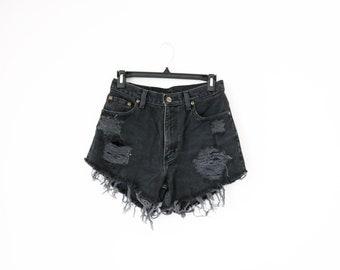 Vintage LL bean distressed black denim cut off shorts