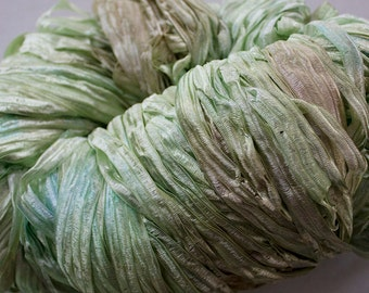 Party, Hand dyed ribbon yarn - Soft Greens, nylon 395 yds