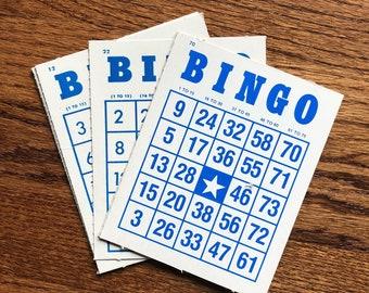 Blue Bingo Cards ~ Set of 10 Bingo cards, Paper Bingo, Journal Supplies