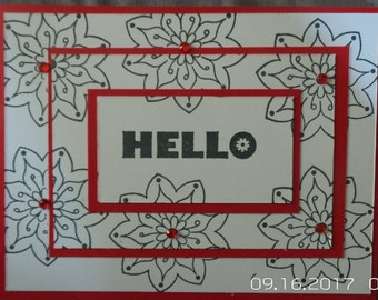 """Blank """"Hello"""" hand stamped greeting cards"""