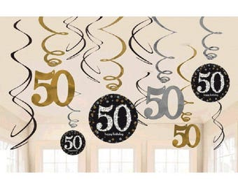 50th Hanging Swirls Milestone Sparkling Birthday Party Decorations 50th Sparkling Silver Gold