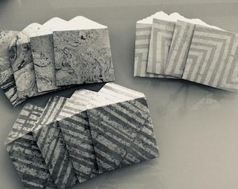 """Handmade Envelopes , Envelopes 4""""x4"""",  10 patterned envelopes , snail mail envelopes ."""