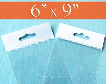 100 6 x 9 Inch HANG TOP Clear Resealable Cello Bags Packaging for Hanging on Display or Peg