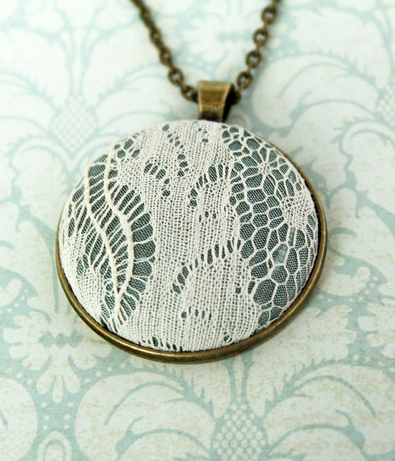 Custom Bridal Lace Necklace / Lace Wedding Anniversary Gift / 13th Wedding Anniversary Present / Traditional Lace Pendant