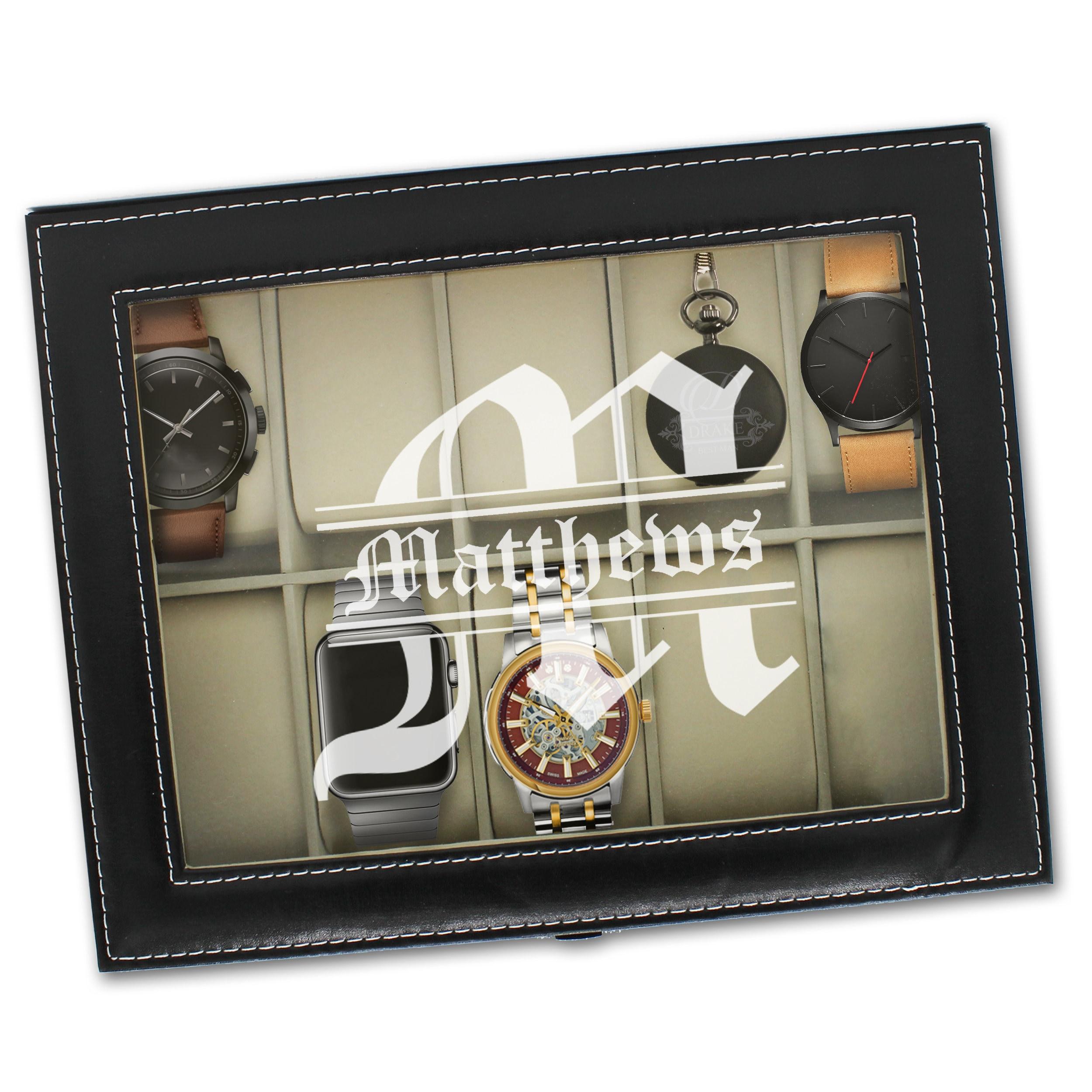 Mens Watch Box, Custom Watch Box, Mens Watch Case, Watch Storage Case, Personalized Watch Case, Watch Box for Men, Leather Watch Box