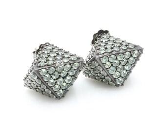 Matthew Campbell Laurenza Sterling Silver Green Sapphire Earrings