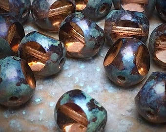 8mm Picasso Czech Glass..Rosy Amber, older, hard to find/Cathedral /Tricut...20 pcs./ Item #17