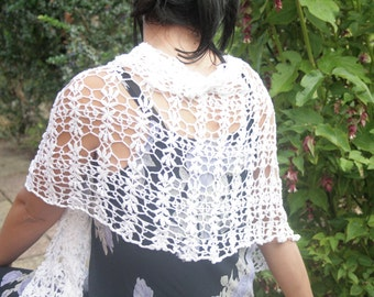 """Lacy Evening Shawl """"Leaves of Spring""""; White Cotton: Handmade;"""