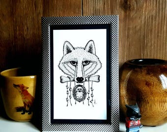"Frame metal reproduction from my illustration ""Best Friends Forever"", 10x15cm, limited edition, Wolf, hedgehog, bone illustration"