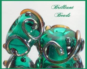 Green & Metallic Aurae Glass Spacer Bead Pair...Handmade Lampwork SRA, Made To Order