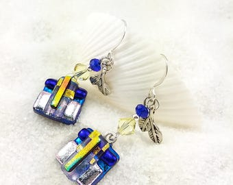 Fused glass jewelry, dichroic earrings, dichroic glass, glass earrings,blue earrings, statement earrings, dichroic glass beads, Hana Sakura