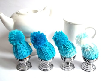 Knitted Egg Cozy Set of 4. Egg Cozy. Egg Hat. Egg Warmer. Turquoise and White Colors Knitted Egg Cozy.