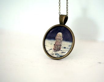Photo Necklace Pendant of an Antique Porcelain Doll Named Claudia