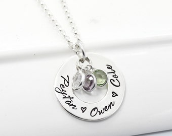 Mother's Personalized Jewerly | Hand Stamped Necklace with Children's names and birthstones.