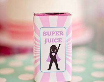 DIY Printable Juice Box Wraps - Girl Superhero Party