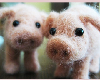 This little piggy, needle felted animal fiber sculpture