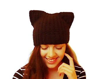 Black Cat Hat, Cat Ear Hat, Kitty Ear Beanie, Gothic Hat, Cat Beanie, Black Toque, Women Knit Gift