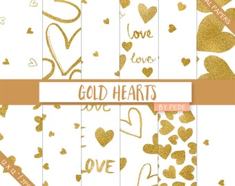 Gold hearts digital papers, love digital paper, hearts confetti, valentine's day, hand painted, glitter, download