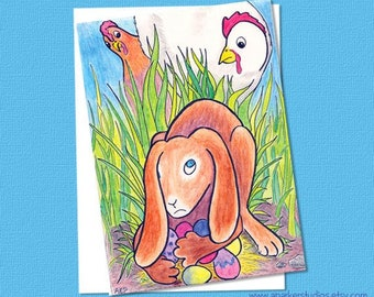 Funny Easter Card with easter rabbit and Chickens, illustrated easter card, handmade easter card, hand drawn easter card