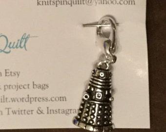 Ex-stitch-inate! Locking stitch marker for crocheting with a Dalek charm.