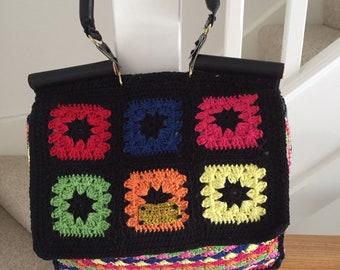 Crochet Granny Square Multicolour Handbag