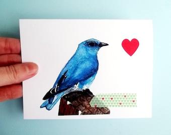 Vogel-Karte Card Aquarell Valentinskarte, Aquarell Vogel, Collage-Karte, Grußkarte, Vogel print, blauer Vogel, blauer Vogel Kunst Grußkarte